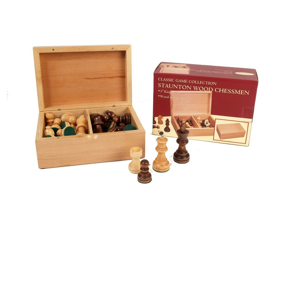 3 Wooden Chessmen In Box Board Game