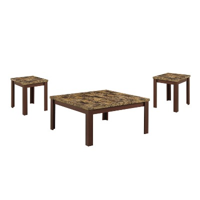 Acme Furniture 3pc Finely Faux Marble Coffee And End Table Set Light  Brown/Cherry : Target