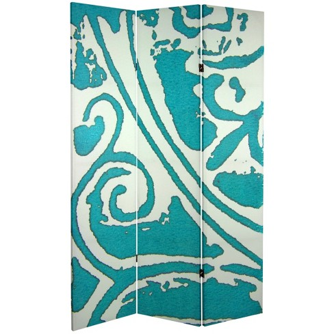 6' Tall Double Sided Teal Vineyard Canvas Room Divider - Oriental Furniture - image 1 of 1