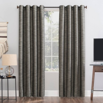 "84""x52"" Rhett Woven Strie Theater Grade Extreme Total Blackout Grommet Top Curtain Panel Charcoal/Gray - Sun Zero"