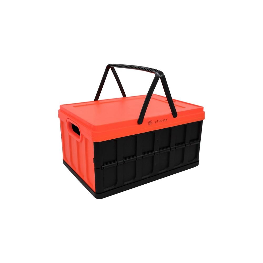 Image of 33qt Foldable Hardside Basket Storage Crate Red/Black - Lotus USA