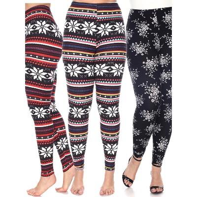 Women's Pack of 3 Plus Size Leggings - White Mark
