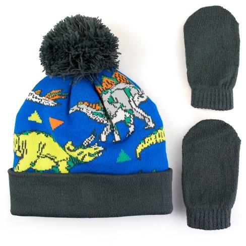 Toddler Boys  Dinosaur Hat And Mitten Set - Cat   Jack™ Blue 2T-4T   Target 8658749bca15