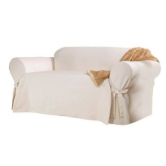 Cotton Sailcloth Sofa Slipcover Natural - Sure Fit