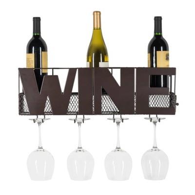 Metal Wall Mount Wine Bottle and Long Stem Glass Rack Brown - Danya B.