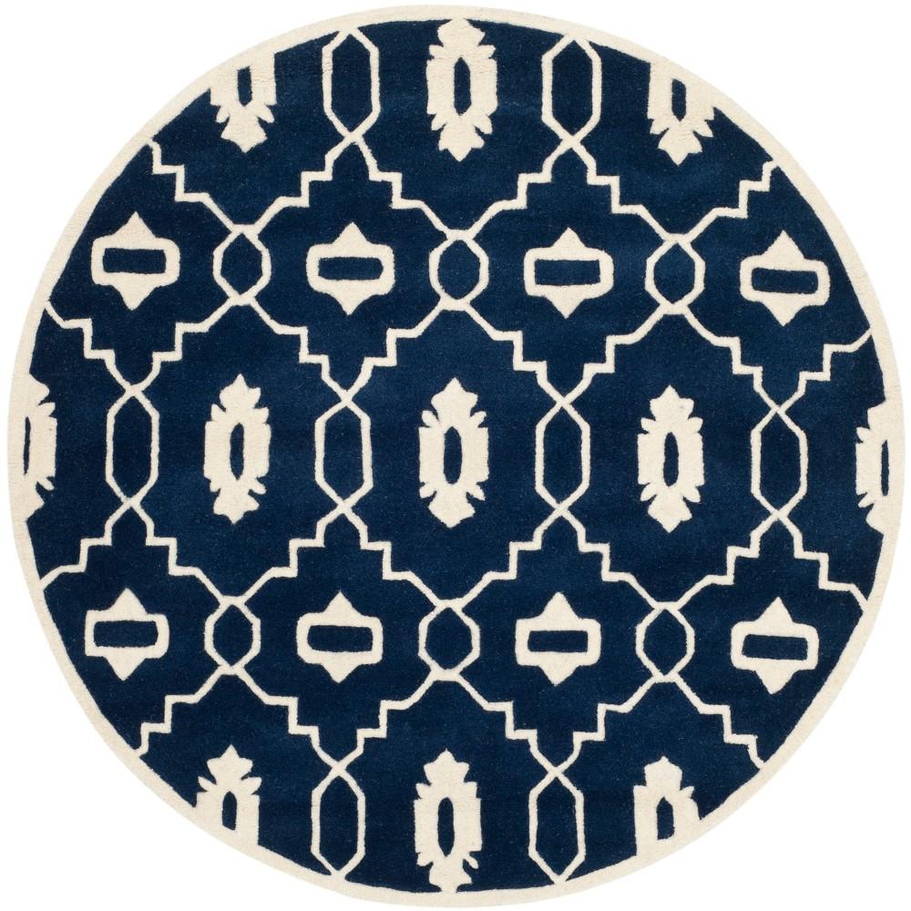5' Geometric Round Area Rug Dark Blue/Ivory - Safavieh