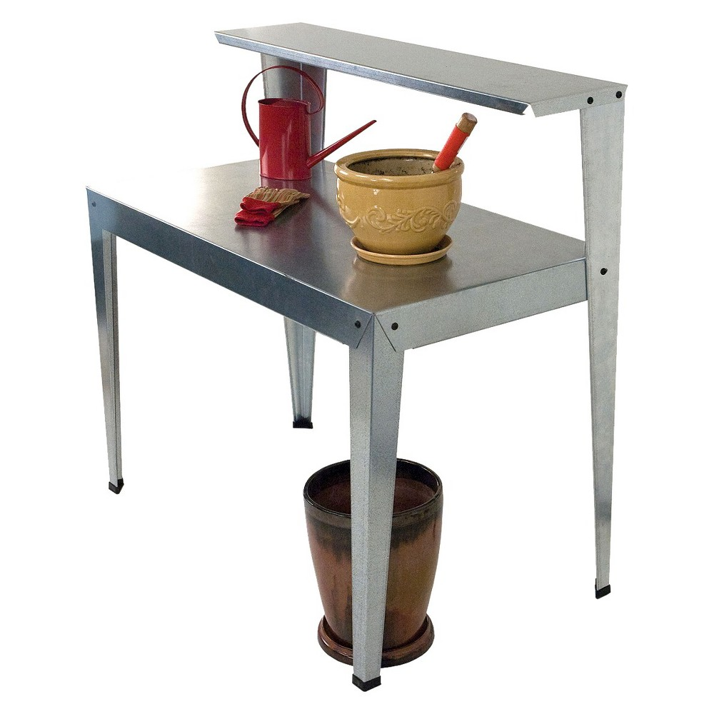 Image of Galvanized Potting Bench Gray - Poly-Tex