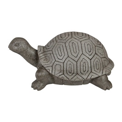 """Northlight 11.75"""" Polished Gray Turtle Outdoor Garden Statue"""