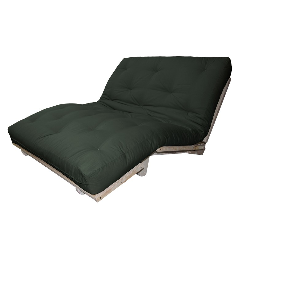 8 Cotton Filled Sit, Lounge or Sleep Futon Sofa Sleeper Bed Twill Fabric Forest (Green) - Epic Furnishings