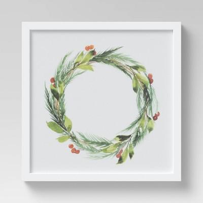 "16"" x 16"" Christmas Wreath Framed Wall Print - Threshold™"