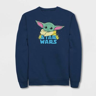 Women's Star Wars The Mandalorian The Child Pop Art Pullover Sweater (Juniors') - Navy