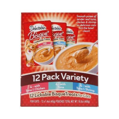 Hartz Delectables Bisque Tuna, Shrimp & Chicken Cat Treats Variety Pack - 1.4oz/12ct