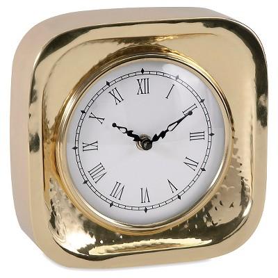 Etonnant Square Metal Table Clock Gold   Aurora®