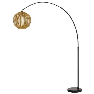 "84"" Lakeside Metal Adjustable Arc Floor Lamp with Bamboo Shade Dark Bronze - Cal Lighting"