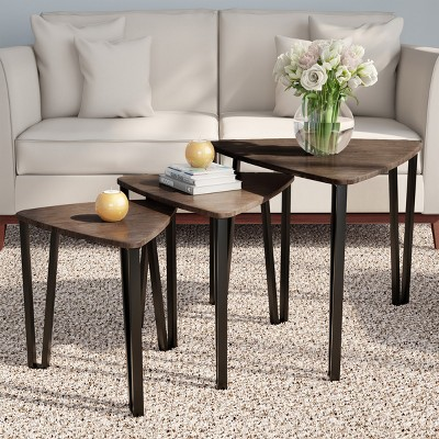 Nesting Tables-Set of 3, Modern Woodgrain Look for Living Room Coffee Tables or Nightstands-Contemporary Accent Decor Home Furniture by Hastings Home