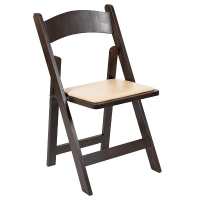 Emma and Oliver Chocolate Wood Folding Chair with Detachable Vinyl Padded Seat