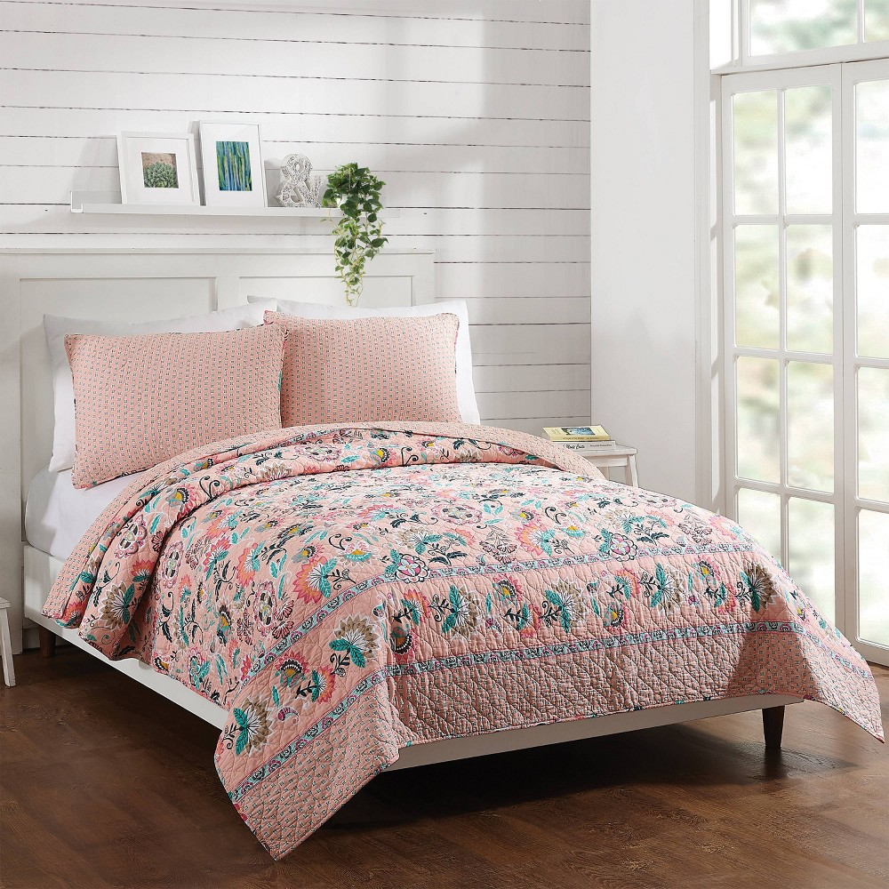 Image of Full/Queen Blush Flowers Quilt Pink - Vera Bradley