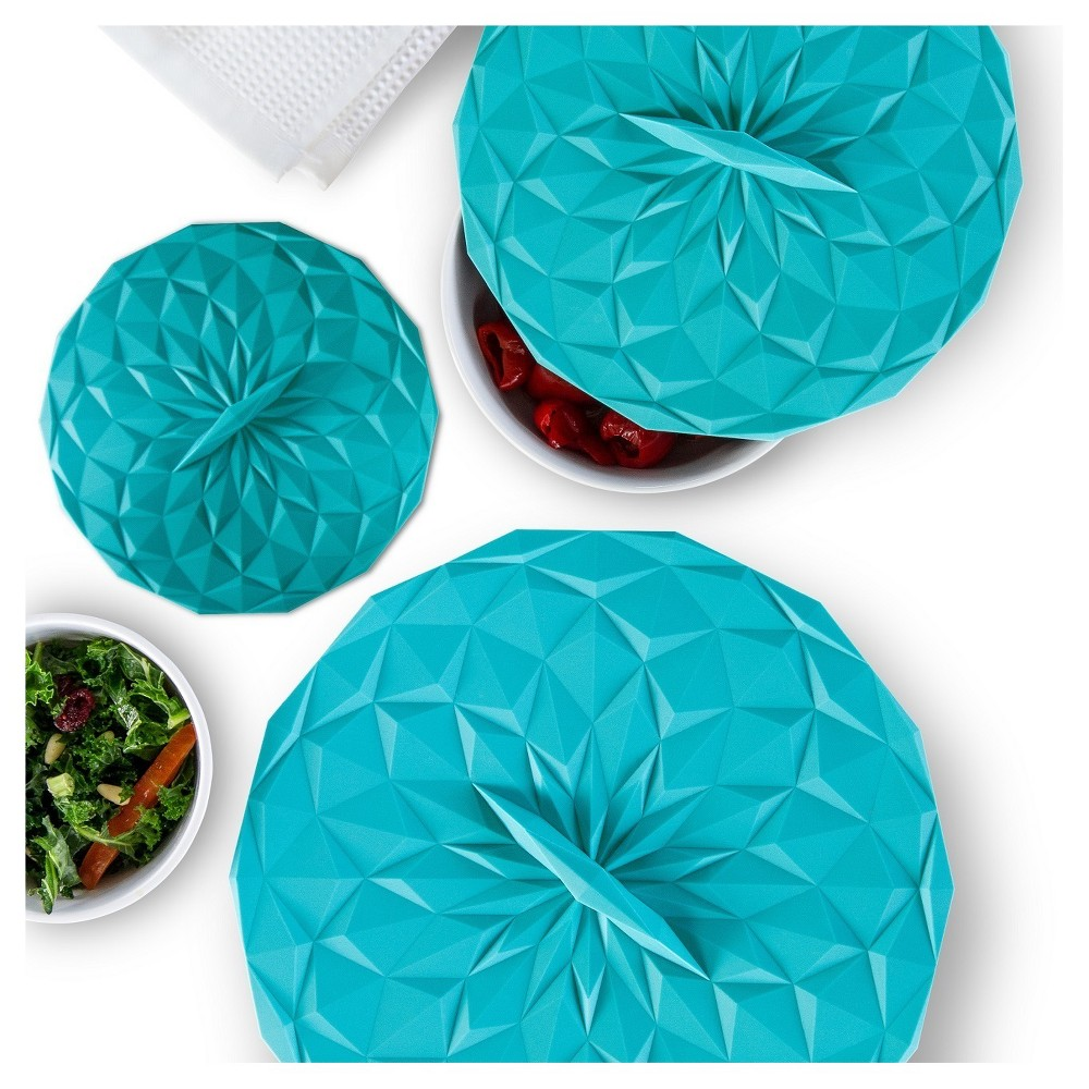 Image of Gir Round Silicon Storage Lids 3pc Set Teal (Blue)