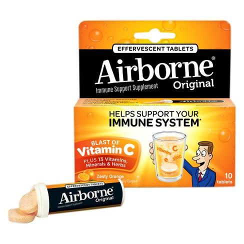 Airborne Immune Support Supplement Dissolving Tablets - Zesty Orange - 10ct - image 1 of 2