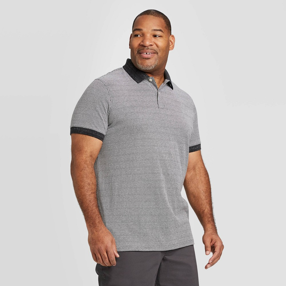 Image of Men's Big & Tall Jacquard Slim Fit Short Sleeve Pique Polo Shirt - Goodfellow & Co Gray 2XB, Men's
