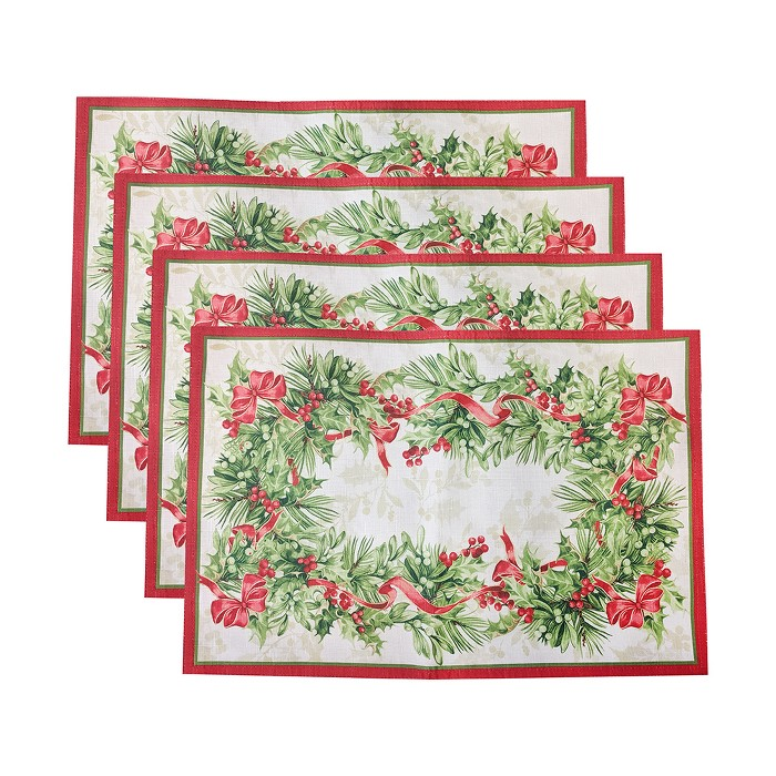 """Holly Traditions Holiday Placemats, Set Of 4 - 13"""" X 19"""" - Red/Green - Elrene Home Fashions : Target"""