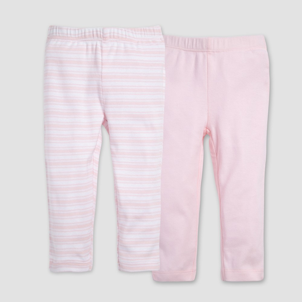 Burt's Bees Baby Organic Cotton Girls' 2pk Pants Set - Pink 6-9M, Red