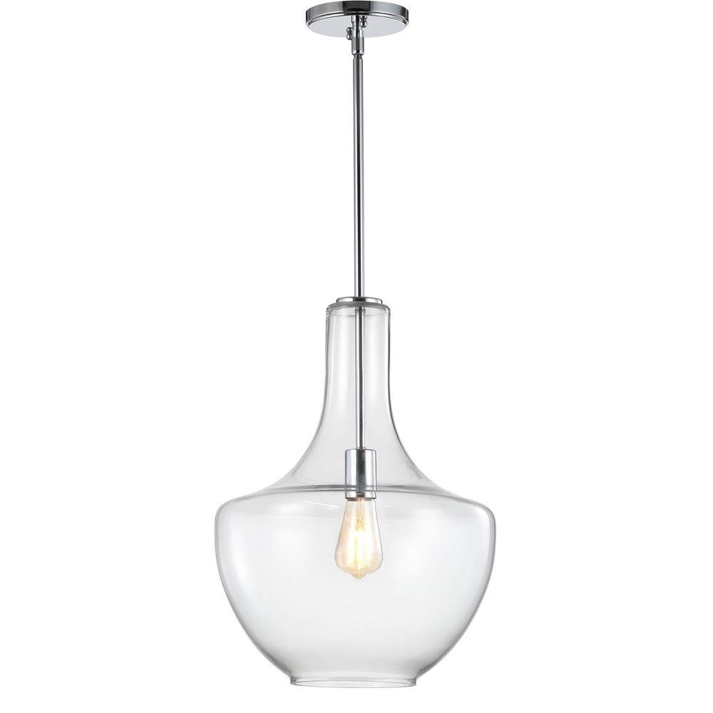 "Image of ""13.25"""" Watts Glass/Metal LED Pendant Chrome (Includes Energy Efficient Light Bulb) - JONATHAN Y"""