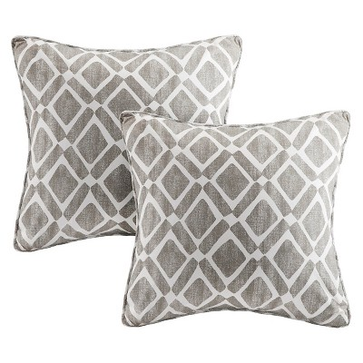 Gray Natalie Printed Square Throw Pillow 2pk 20 x20 -