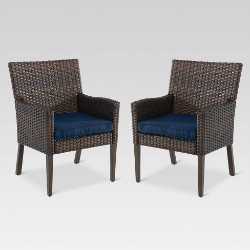Halsted 2pk Wicker Patio Dining Chair - Navy - Threshold™ - image 1 of 2