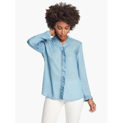NIC+ZOE Women's Ruffled Up Denim Shirt