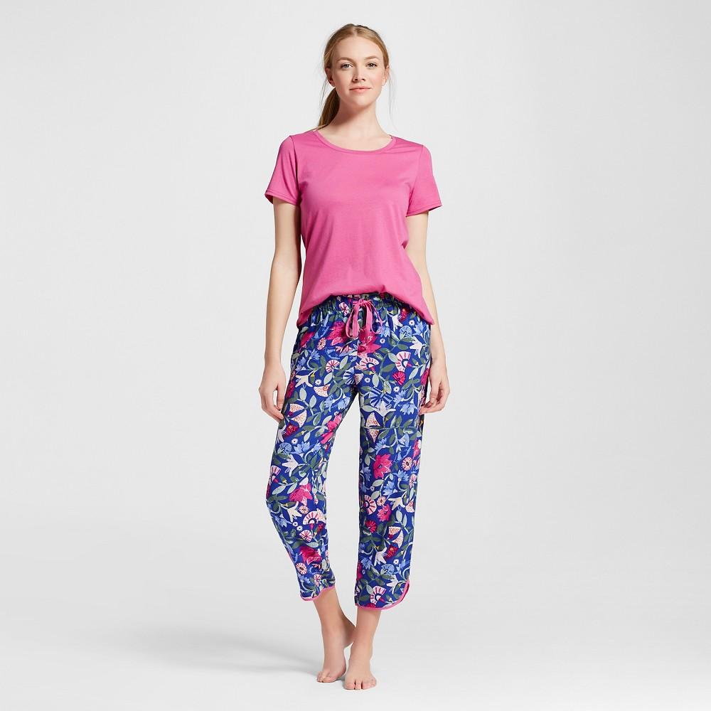 Women's Pajama Crop Set - Floral Pink M, Pomegranate Pink
