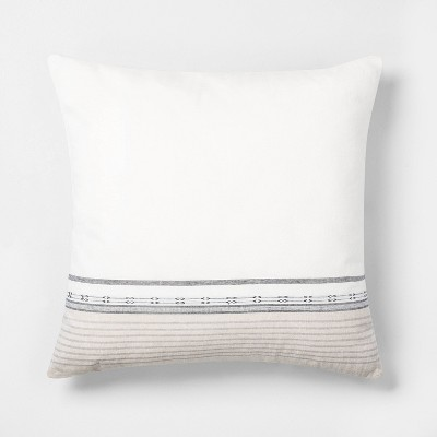 "22"" x 22"" Engineered Ombre Border Throw Pillow Sour Cream/Gray - Hearth & Hand™ with Magnolia"