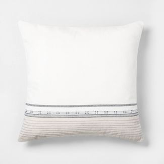 """22"""" x 22"""" Engineered Ombre Border Throw Pillow Sour Cream/Gray - Hearth & Hand™ with Magnolia"""