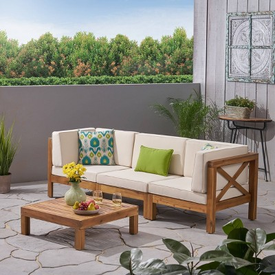 Brava 4pc Acacia Modular Sofa and Table Set - Christopher Knight Home