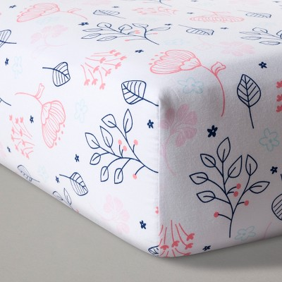 Fitted Crib Sheet Navy & Pink - Cloud Island™ - Navy/Pink