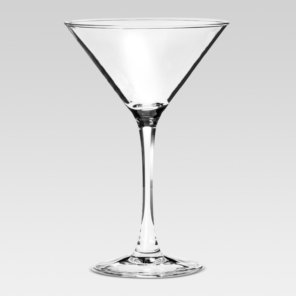Modern Martini Glasses 7.5oz Set of 4 - Threshold Serve up your favorite concoctions in a modern fashion with these Martini Glasses from Threshold. Each glass in this set of four clear martini glasses features a slim, elegant stem and cone-shaped bowl that perfectly highlight your after-work or party pick-me-up. Thanks to the dishwasher-safe design, cleaning up after a party or dinner will be a breeze — cheers to that!