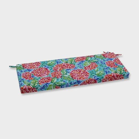 Garden Blooms Outdoor Bench Cushion Pink - Pillow Perfect - image 1 of 2