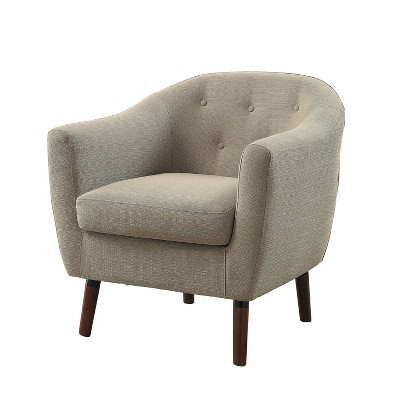 Homelegance 31 Inch Lucille Collection Classic Polyester Fabric Single Living Room Accent Barrel Chair, Beige