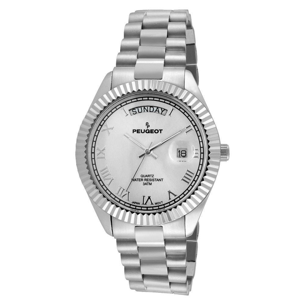 Image of Men's Peugeot Coin Edge Bezel Bracelet Watch - Silver, Men's, Size: Small