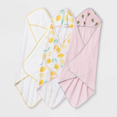 Baby Girls' 3pk Oh Honey Bee & Lemon Hooded Bath Towel - Cloud Island™ White/Pink One Size