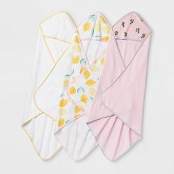 Baby Girls' 3pk Oh Honey Bee & Lemon Hooded Bath Towel - Cloud Island™ White/Pink One Size