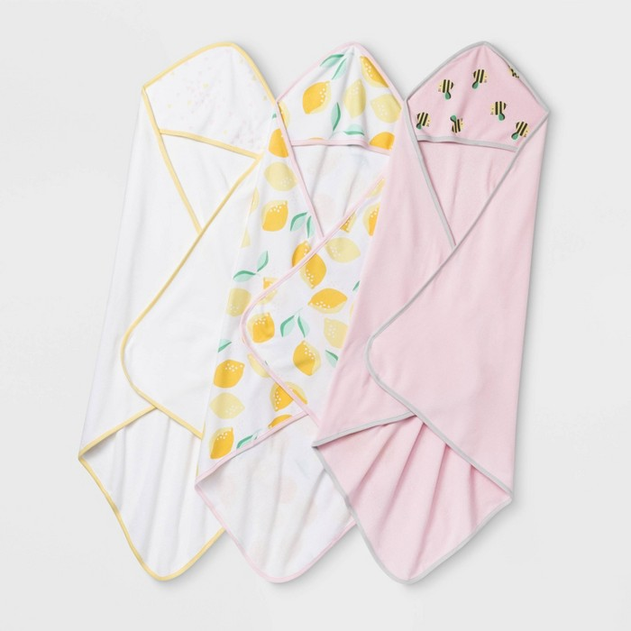Baby Girls' 3pk Oh Honey Bee & Lemon Hooded Bath Towel - Cloud Island™ White/Pink One Size - image 1 of 1