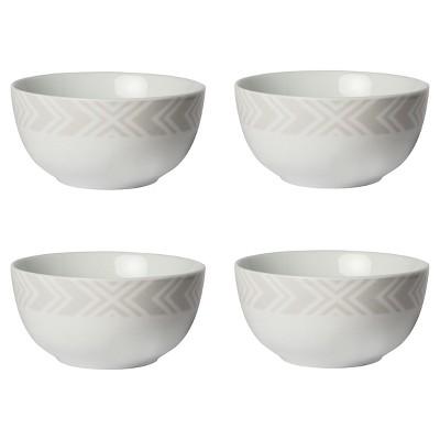 Cheeky® Byron Porcelain Bowl 20oz Gray Geometric Band - Set of 4