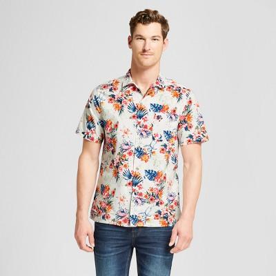 Men's Floral Print Short Sleeve Button-Down Shirt - Goodfellow & Co™ Sunbeam Pink S