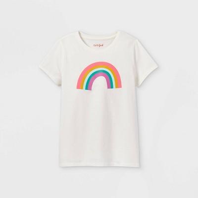 Girls' 'Rainbow' Short Sleeve Graphic T-Shirt - Cat & Jack™ Oatmeal Heather