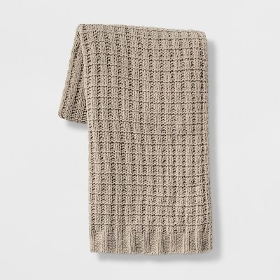 Chenille Throw Blanket Tan - Threshold™