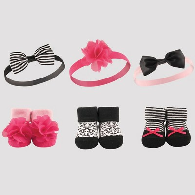 Hudson Baby Girls' 6pc Socks & Headbands - Black/Pink 0-6M