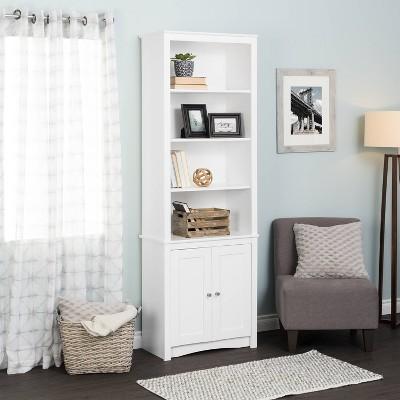 """80"""" 2 Shaker with Tall Bookshelf Doors White - Prepac"""