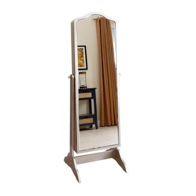 Superbe Merlo Floor Standing Mirror U0026 Jewelry Armoire Silver   Abbyson Living