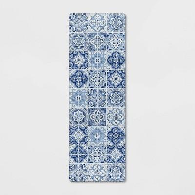 """60""""x20"""" Tile Comfort Kitchen Runner Blue - Threshold™"""